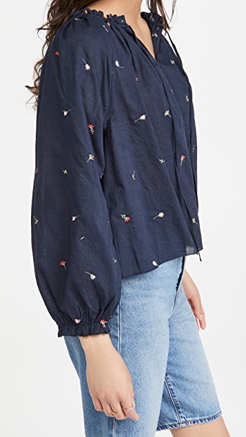 THE GREAT. Posey Embroidered Top