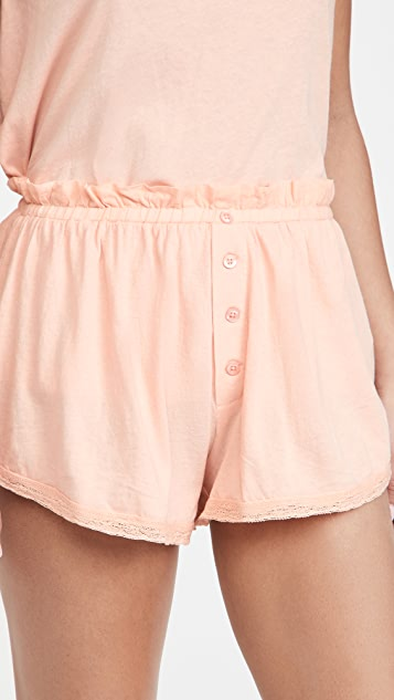 THE GREAT. The Lace Tap Shorts