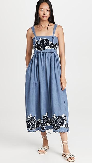 THE GREAT. The Applique Floral Horizon Dress