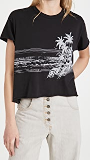 THE GREAT. The Crop Tee with Shoreline Graphic
