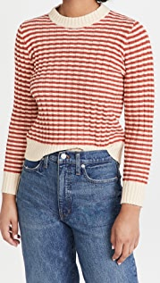 THE GREAT. The Mini Striped Shrunken Pullover