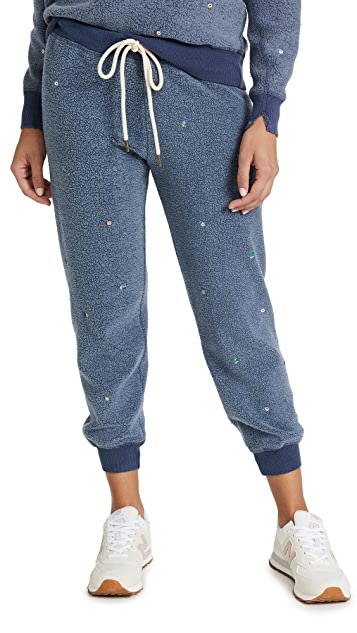 THE GREAT. The Sherpa Cropped Sweatpants with Ditsy Floral Embroidery