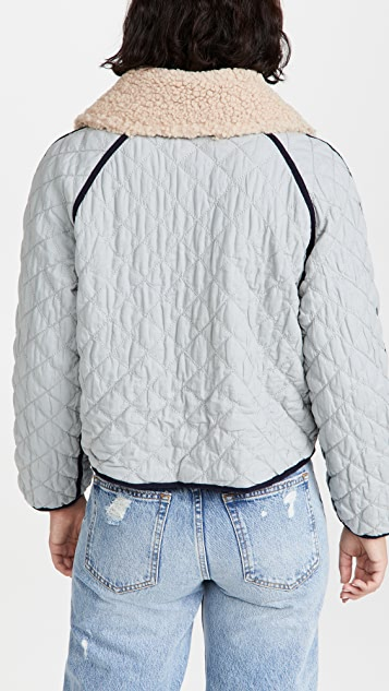 THE GREAT. The Short Quilted Reversible Jacket
