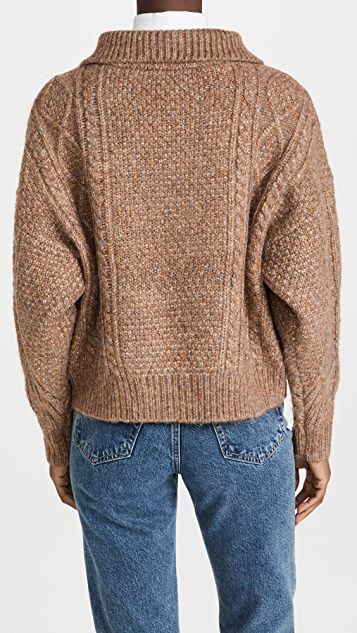 THE GREAT. The Cable Henley Pullover
