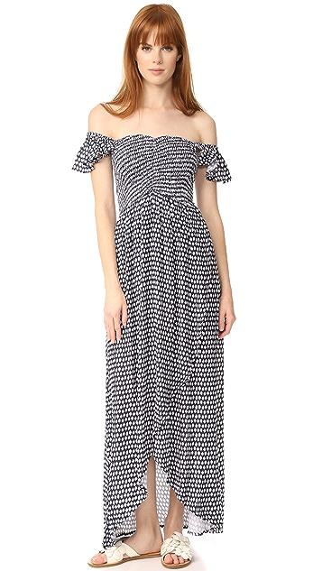 TIARE HAWAII Paradise Maxi Dress - Sleet Navy/White