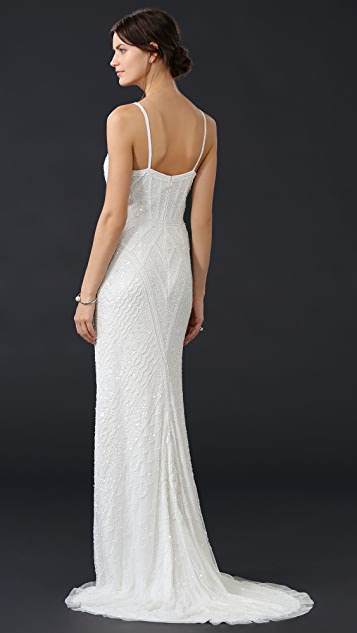 Theia Marion Beaded Slip Gown