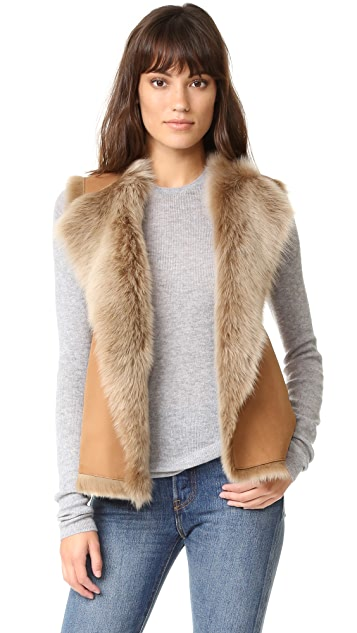 Theory Petriva Suede & Shearling Reversible Vest