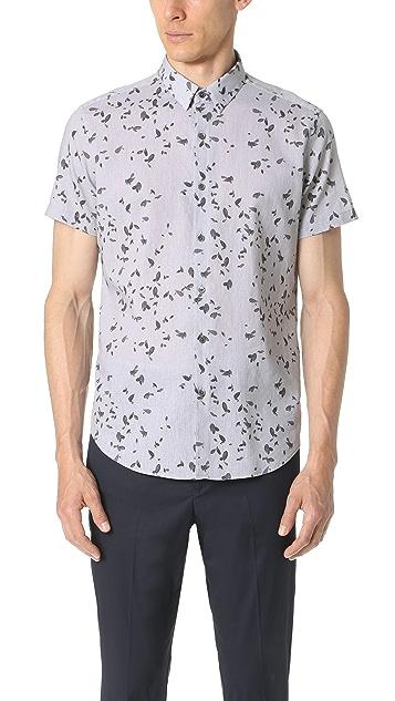 534bdda22 Theory Zack Leaf Print Short Sleeve Button Down Shirt | EAST DANE