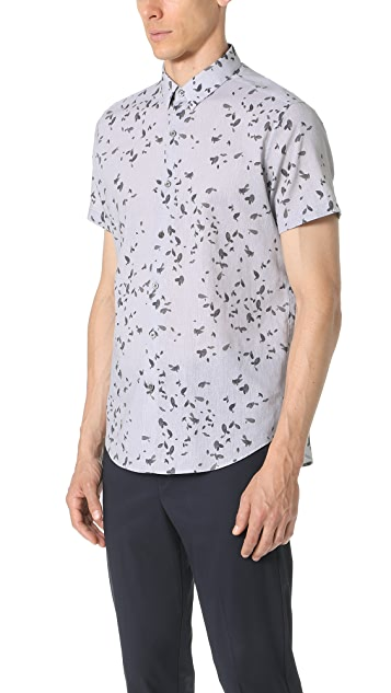 Theory Zack Leaf Print Short Sleeve Button Down Shirt
