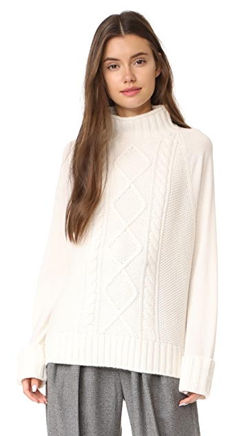 Theory Easy Mock Neck Cable PO Sweater