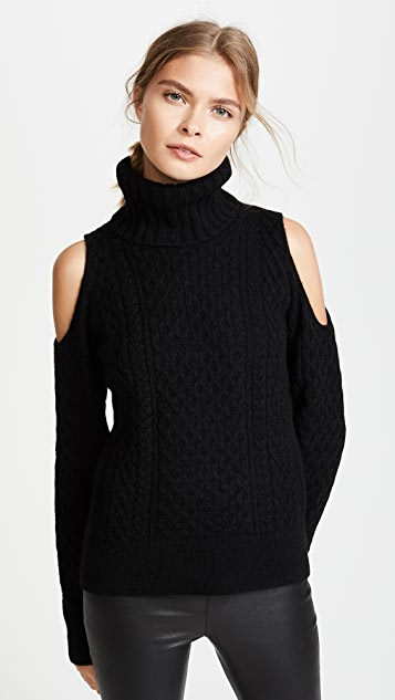 Theory Cold Shoulder Cable T Neck Sweater