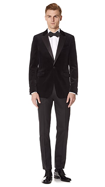 Theory One Button Peak Lapel Tuxedo Jacket