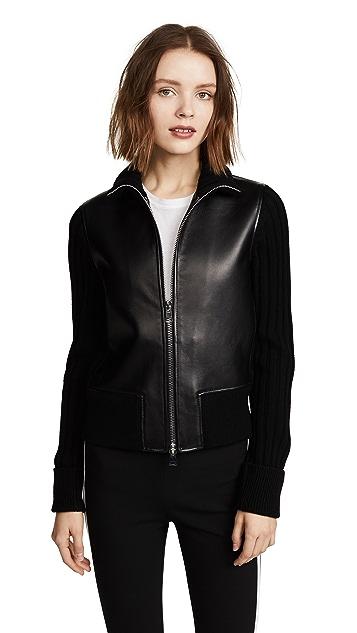 Theory Bonded Leather Rib Jacket
