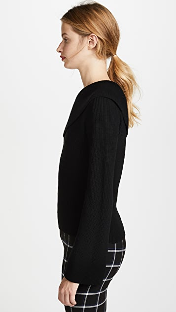 Theory One Shoulder Fold Over Pullover