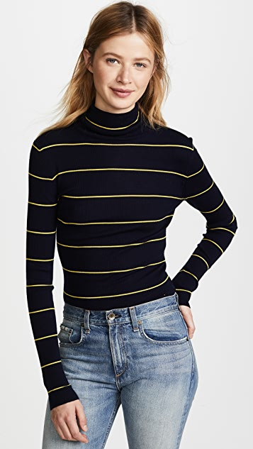 Theory Striped Long Sleeve Crop Turtleneck