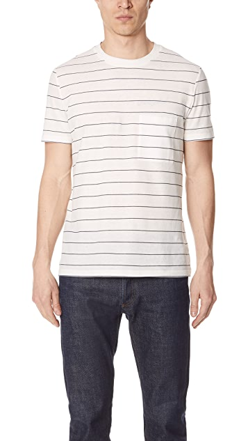Theory Essential Striped Pocket Tee