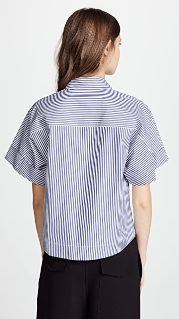 Theory Cropped Button Down Shirt