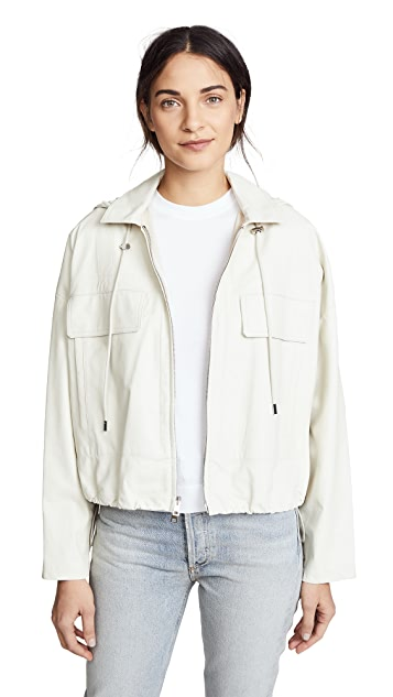 Theory Cropped Leather Anorak