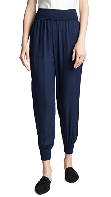 Theory Silk Combo Jogger Pants