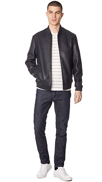 Theory Woven Leather Bomber Jacket