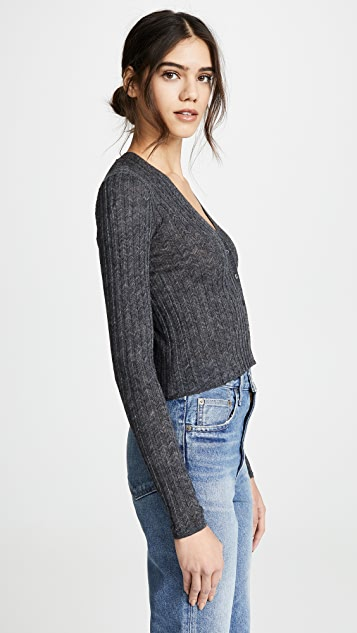 Theory Crop Wide Rib Cardigan
