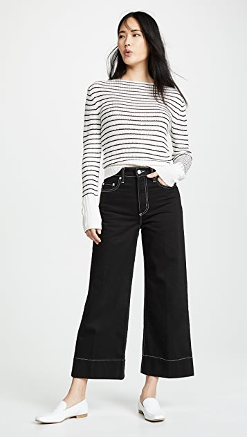 Theory Striped Boat Neck Sweater