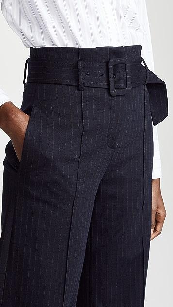 Theory High Waisted Pinstripe Belt Pants