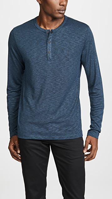 Theory Snap Long Sleeve Henley Shirt
