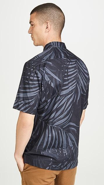 Theory Menlo Short Sleeve Palm Leaf Shirt