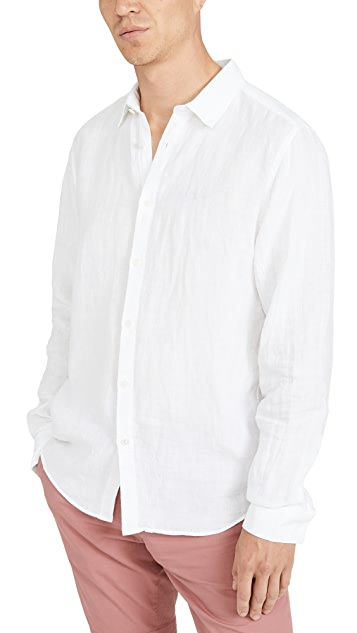 Theory Irving Long Sleeve Summer Linen Shirt