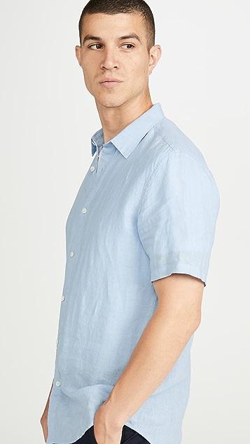 Theory Irving Short Sleeve Summer Linen Shirt