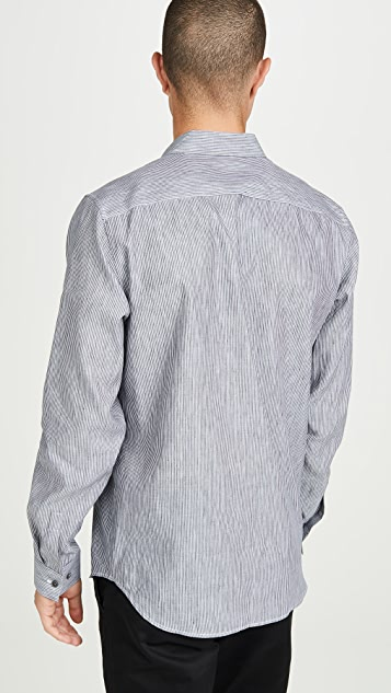 Theory Irving Long Sleeve Summer Linen Striped Shirt