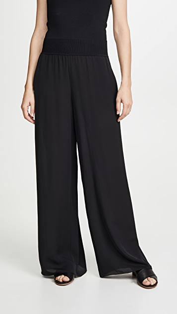 Theory Wide Leg Pants with Ribbed Waist
