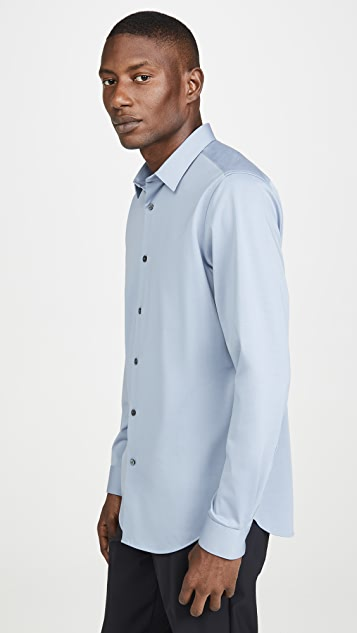 Theory Keaton Structured Knit Button Down Shirt