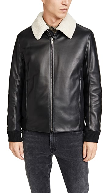 Theory Tyler Heavy Leather Bomber Jacket
