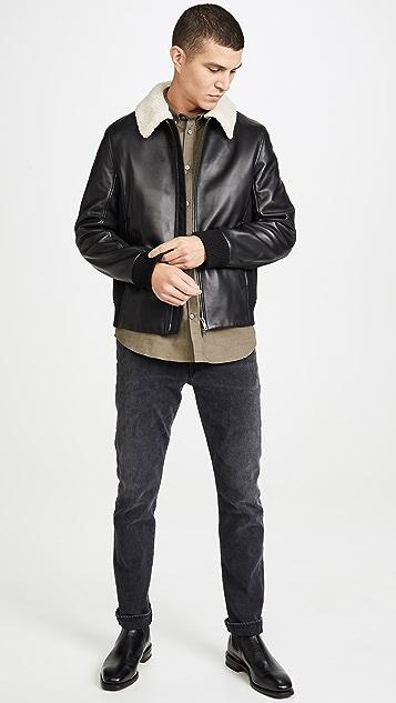 Theory Tyler Heavy Leather Bomber Jacket