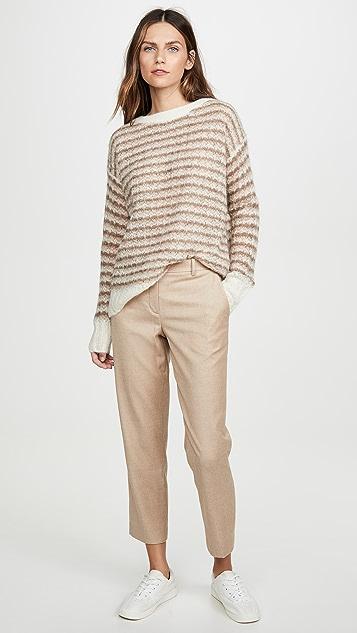 Theory Пуловер в полоску из шерсти альпака