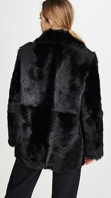 Theory Меховое пальто с накладным элементом