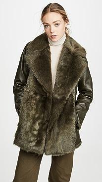 Overlay Fur Coat