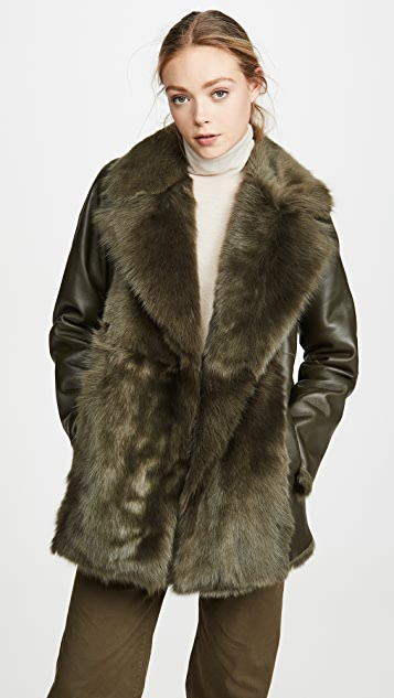 Theory Overlay Fur Coat