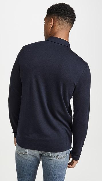 Theory Cashmere Blend Long Sleeve Polo Shirt