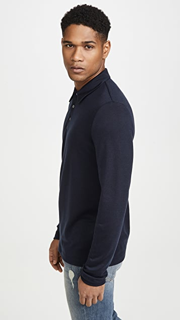 Theory Cashmere Blend Long Sleeve Polo Shirt