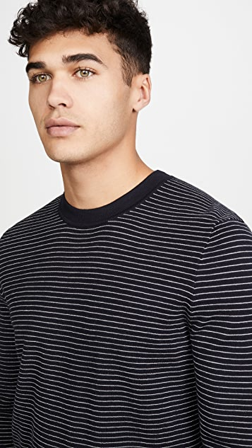Theory Long Sleeve Merino Wool Stripe Sweater