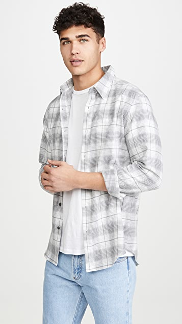 Theory Long Sleeve Irving Flannel Shirt