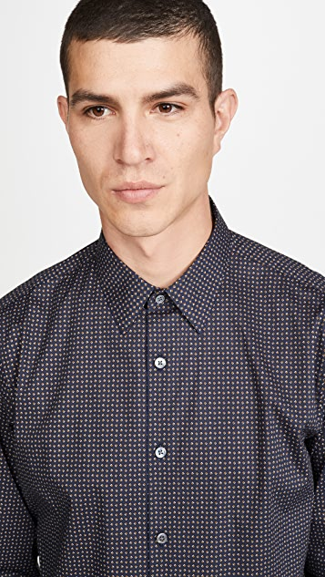 Theory Long Sleeve Irving Geo Print Shirt