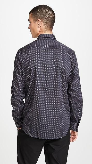 Theory Long Sleeve Irving Geo Print Shirt