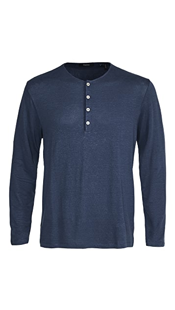 Theory Steg Flex Linen Long Sleeve Henley