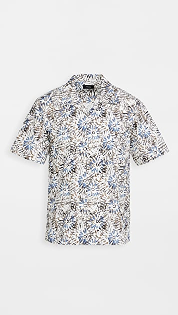 Theory Weldon Sketched Floral Short Sleeve Shirt