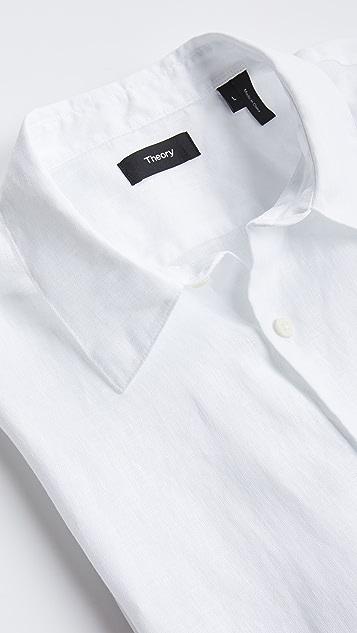 Theory Irving Short Sleeve Linen Shirt