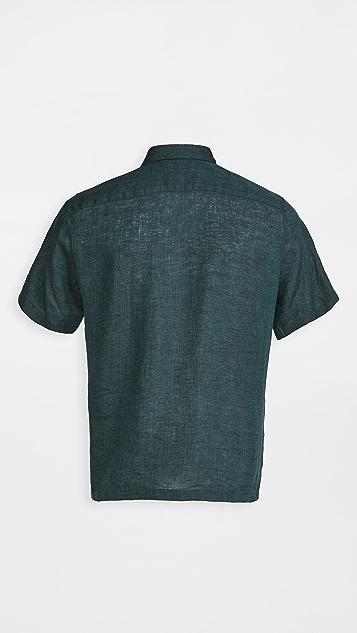 Theory Irving Summer Linen Short Sleeve Shirt
